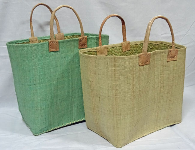 Fairtrade baskets woven raffia, leather handles, inside pocket with zip